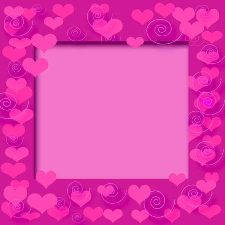 valentine pink hearts frame  on cutout  center