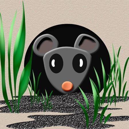 tiny gray mouse peeking out of a hole  illustration Stock Photo