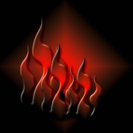 colorful flaming fire on black background illustration  Stock fotó