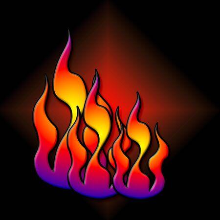 Fiammeggiante fuoco colorato su sfondo nero illustrazione Archivio Fotografico - 2273101