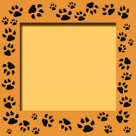 tiger tracks frame scrapbook cutout page  illustration