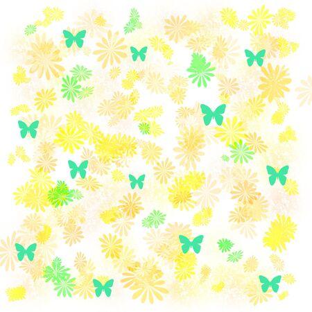 mottled: butterflies and flowers sprinkled  on mottled background  Stock Photo