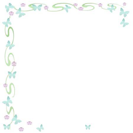 springtime: springtime butterfly and flower frame on solid background