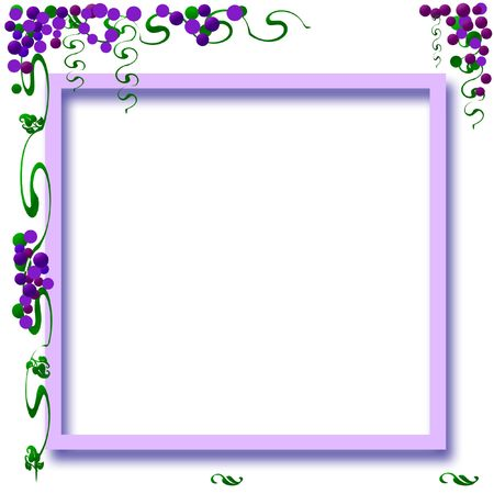 champagne celebration: grapes and vines colorful frame with cutout center Stock Photo
