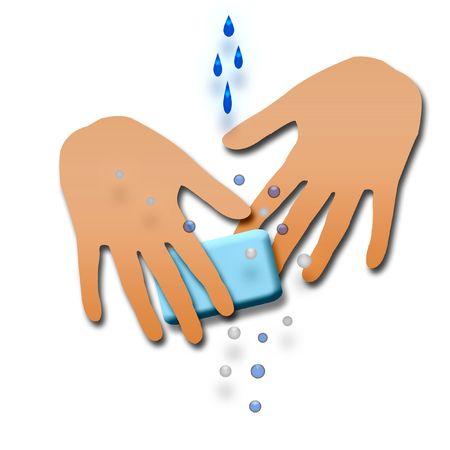 図は石鹸で手を洗う伝染のポスター 写真素材
