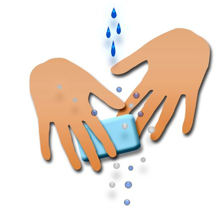 contagious poster washing hands with soap illustration Stock Illustration - 2299635