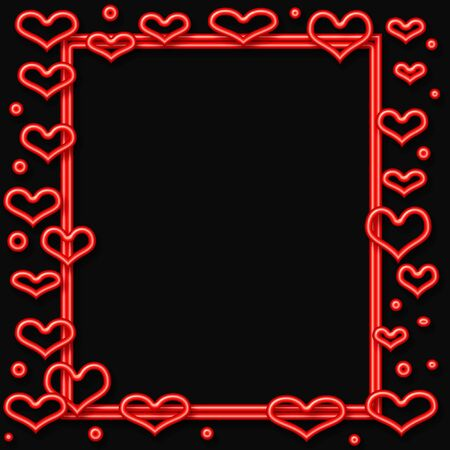 valentine red neon  hearts frame  on cutout  center