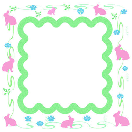 Easter pink bunny frame  with cutout  center