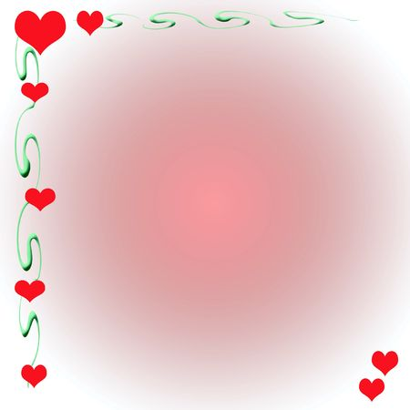 note paper: valentine hearts and vines border gradient  background