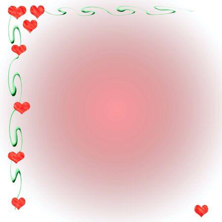 valentine hearts and vines border gradient  background Stock Photo - 2328600