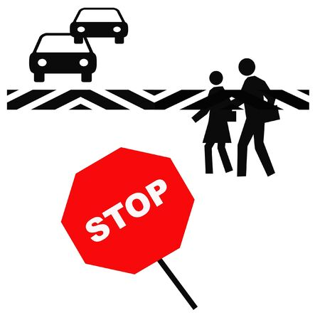 pedestrians in a crosswalk with red stop sign illustration