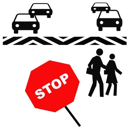 crosswalk: pedestrians in a crosswalk with red stop sign illustration