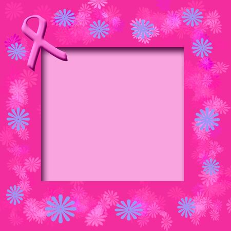 breast cancer awareness pink ribbon on cutout frame