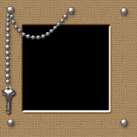 studs: textured frame with metal studs and key chain