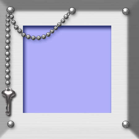 textured frame with metal studs and key chain