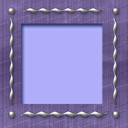 textured frame with metal studs on denim