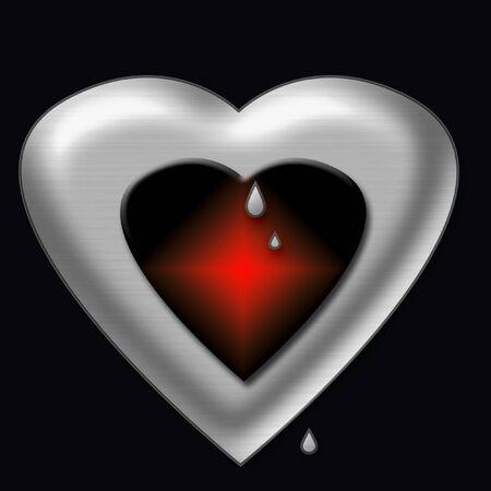 yearn: valentine chrome heart melting from inner heat
