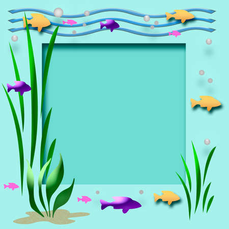 fish and plants frame cutout center scrapbook page