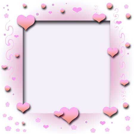valentine hearts and vines frame cutout center Stock Photo