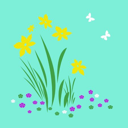 bright spring flowers and butterflies on   background illustration Stock Illustration - 2390896