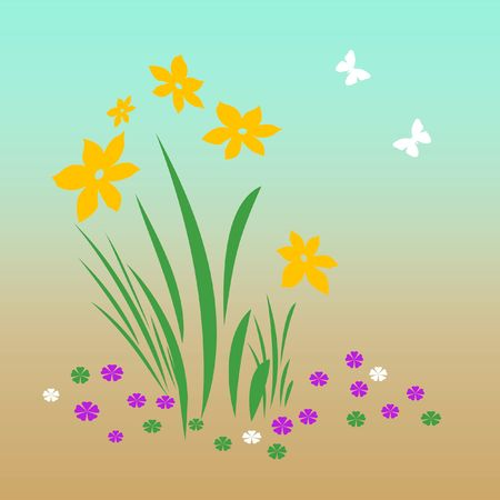 bright spring flowers and butterflies on   background illustration  Stock Illustration - 2390897