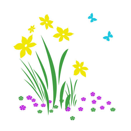 bright spring flowers and butterflies on   background illustration  Stock Illustration - 2390898