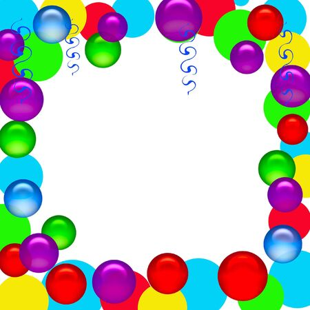 party streamers:  party poster blank center with balloon and streamers accents