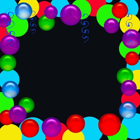party poster blank center with balloon and streamers accents