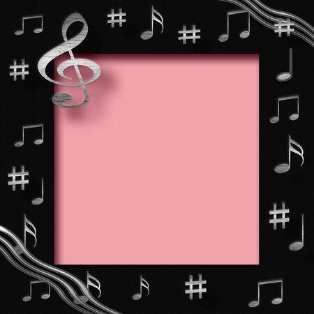 ScrapBook Frame mit Metall Musiknoten auf Farbpapier-Collage-Zentrum Standard-Bild - 2403491
