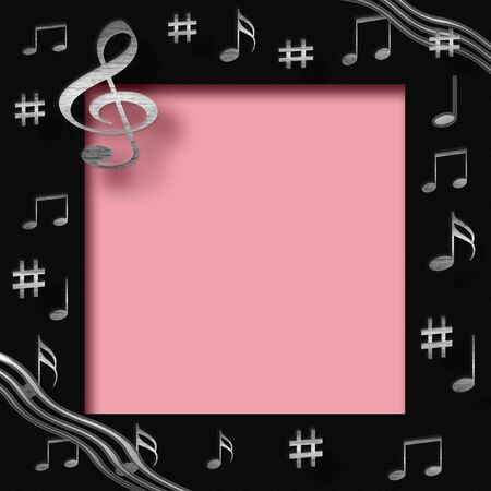 music background: scrapbook frame with metal musical notes on cutout center
