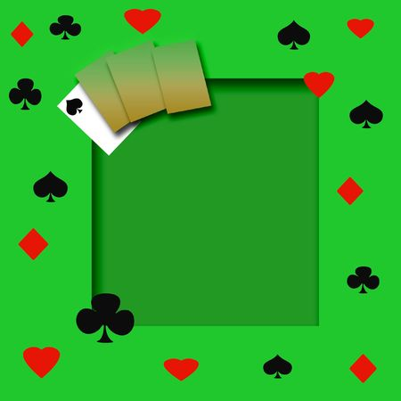 rummy: poker game frame on cutout background scrapbook page Stock Photo