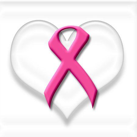 유방암 핑크 리본과 하얀 마음