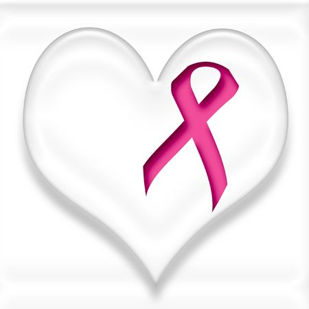 breast cancer pink ribbon and white heart