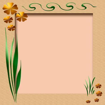 spring flowers and vines frame  with pink cutout center Stock Photo - 2470224
