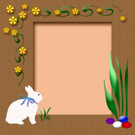 easter scrapbook frame with bunny and eggs