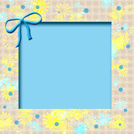 spring flowers frame  with blue cutout center and bow Stock Photo - 2485904