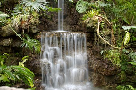 beautiful sparkling waterfall surrounded with tropical plants Imagens