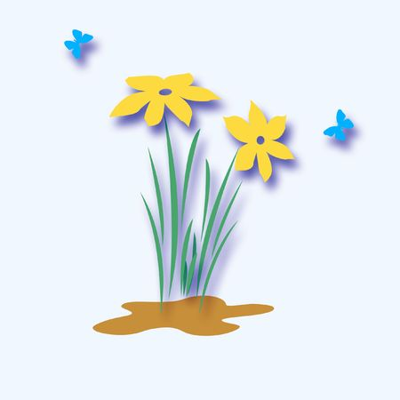 bright spring flowers and butterflies on solid background illustration Stock Illustration - 2527410