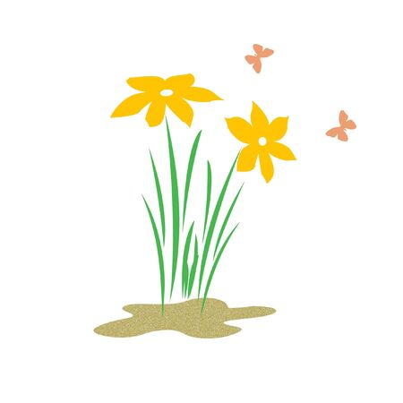 bright spring flowers and butterflies on solid background illustration Stock Illustration - 2527408