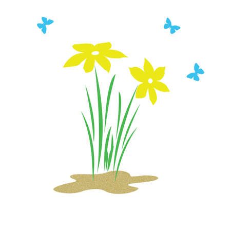 bright spring flowers and butterflies on solid background illustration  Stock Illustration - 2527407