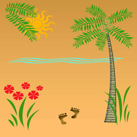 tropic beach vacation palm  sand and surf