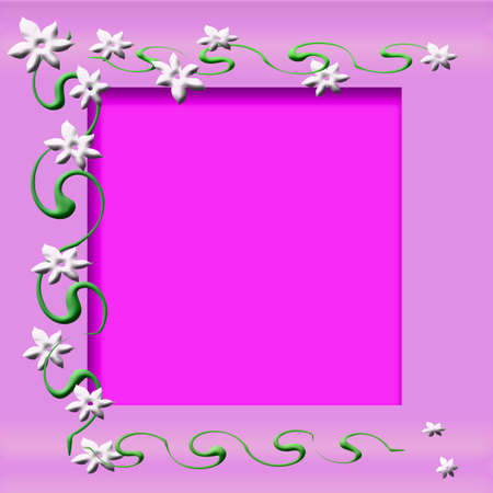 petal: flowers and vines on pink cutout center scrapbook frame