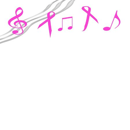 pink ribbons and music notes on  background
