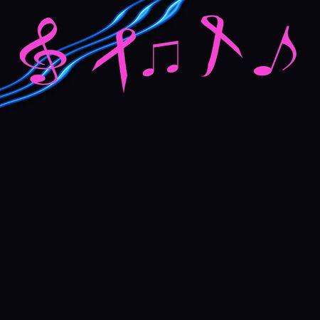 ピンクのリボンと背景音楽ノート 写真素材