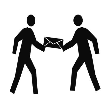 enveloppe doorgeven van hand tot hand illustratie Stockfoto