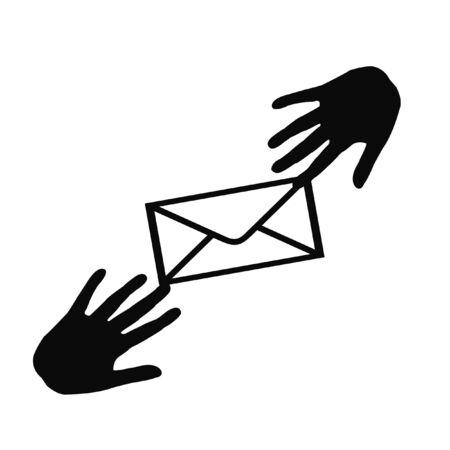 envelop die van hand aan handillustratie overgaat Stockfoto