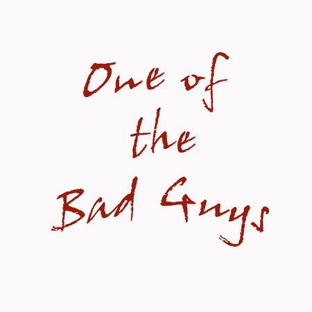 나쁜 사람 T- 셔츠 데 칼 또는 포스터 빨간색 흰색에 인쇄 스톡 콘텐츠