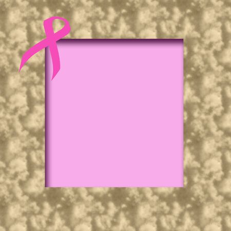 pink ribbon scrapbook page textured background with cutouts