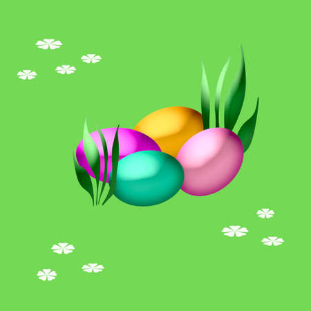 dyed: colorful dyed easter eggs in the grass