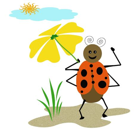 ladybug taking a stroll holding yellow umbrella illustration